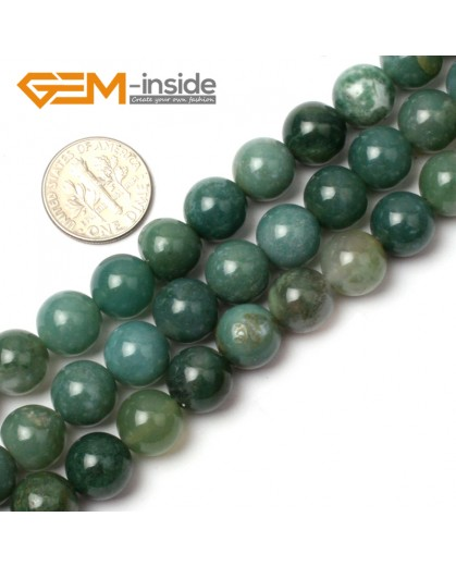 "G0561 10mm Natural Round Green Moss Agate Stone Quartz Beads Strand 15"" Natural Stone Beads for Jewelry Making Wholesale"