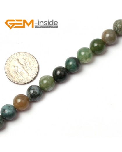 "G0562 8mm Natural Round Green Moss Agate Stone Quartz Beads strand 15"" Natural Stone Beads for Jewelry Making Wholesale"