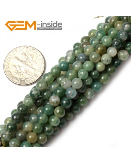 "G0564 4mm Natural Green Moss Agate Stone Round Gemstone Tiny Jewelry Making Loose Spacer Beads Strand 15"" Natural Stone Beads for Jewelry Making Wholesale"