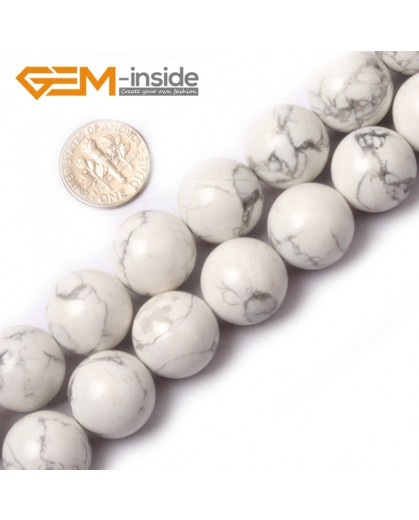 "G0565 16mm Round Natural Howlite (White Turquoise) Beads Strand 15"" Free Shipping Natural Stone Beads for Jewelry Making Wholesale"