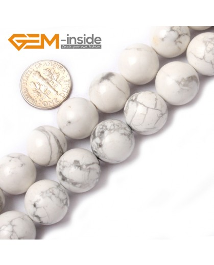 "G0566 14mm Round Natural Howlite ( White Turquoise ) Beads Strand 15"" Free Shipping Natural Stone Beads for Jewelry Making Wholesale"