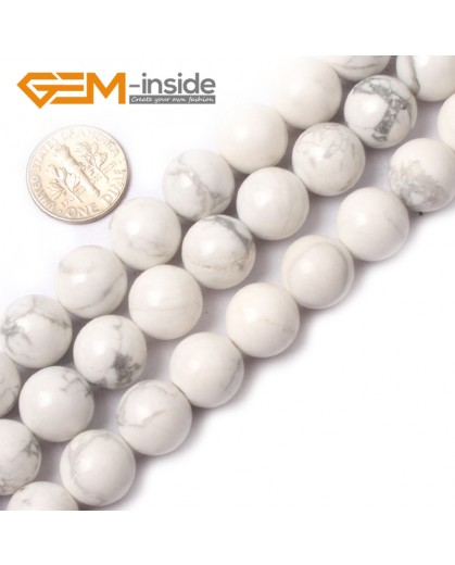 "G0567 10mm Round Natural Howlite (white Turquoise) Beads Strand 15"" Free Shipping Natural Stone Beads for Jewelry Making Wholesale"