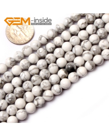 "G0569 6mm Round Natural Howlite (White Turquoise) Beads Strand 15"" Free Shipping Natural Stone Beads for Jewelry Making Wholesale"