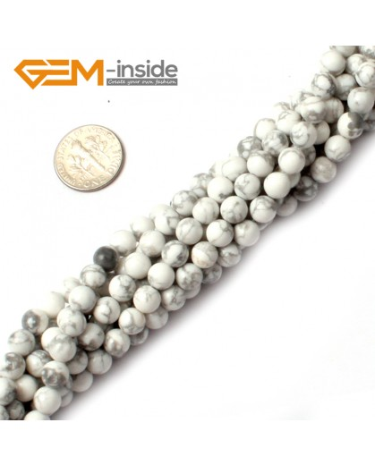 "G0570 4mm Round Howlite (White Turquoise) Beads Strand 15"" Free Shipping Natural Stone Beads for Jewelry Making Wholesale"