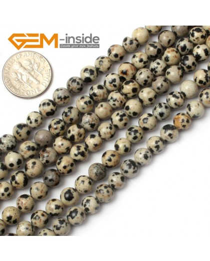 "G0572 6mm Natural Round Dalmatian Jasper Stone Beads Strand 15"" Natural Stone Beads for Jewelry Making Wholesale"