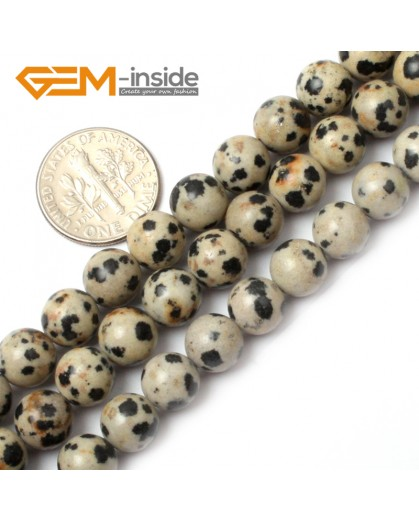 "G0573 8mm Natural Round Dalmatian Jasper Stone Beads Strand 15"" Natural Stone Beads for Jewelry Making Wholesale"