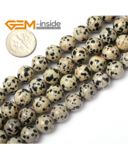 "G0574 10mm Natural Round Dalmatian Jasper Stone Beads Strand 15"" Natural Stone Beads for Jewelry Making Wholesale"
