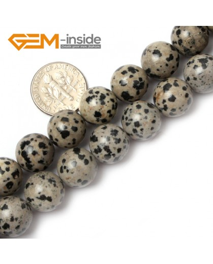 "G0576 14mm Natural Round Dalmatian Jasper Stone Beads Strand 15"" Natural Stone Beads for Jewelry Making Wholesale"