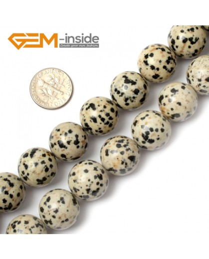 "G0577 16mm Natural Round Dalmatian Jasper Stone Beads Strand 15"" Natural Stone Beads for Jewelry Making Wholesale"