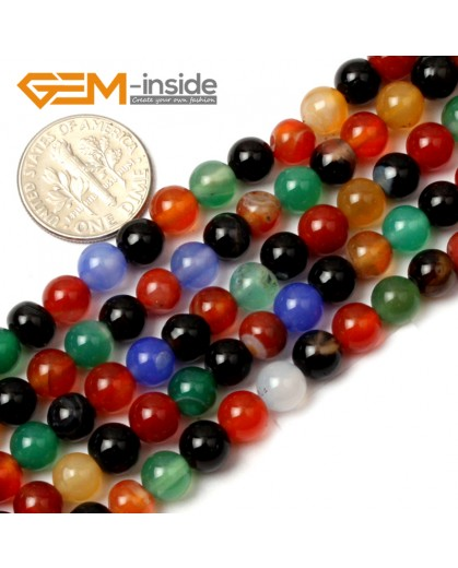 "G0599 6mm Natural Round Mix-Color Agate Gemstone Loose Beads Strand 15"" Natural Stone Beads for Jewelry Making Wholesale"