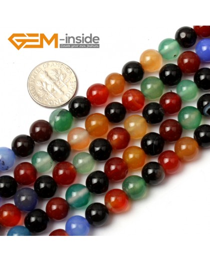 "G0600 8mm Natural Round Mix-Color Agate Gemstone Loose Beads Strand 15"" Natural Stone Beads for Jewelry Making Wholesale"