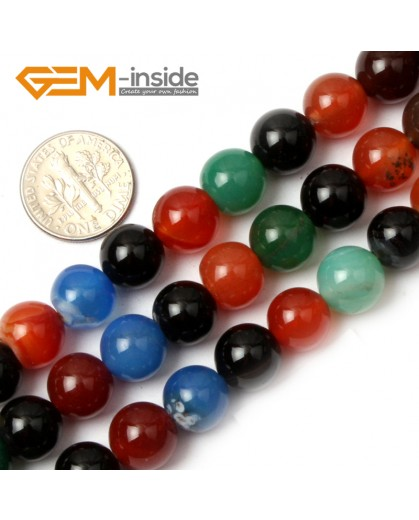 "G0601 10mm Natural Round Mix-Color Agate Gemstone Loose Beads Strand 15"" Natural Stone Beads for Jewelry Making Wholesale"