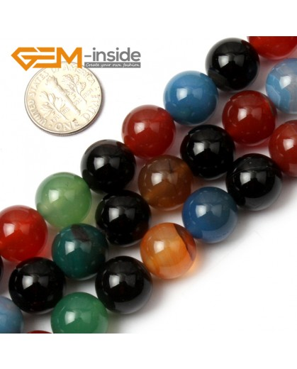 "G0602 12mm Natural Round Mix-Color Agate Gemstone Loose Beads Strand 15"" Natural Stone Beads for Jewelry Making Wholesale"