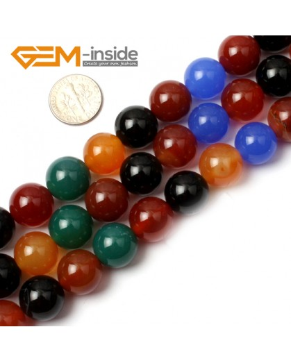 "G0603 14mm Natural Round Mix-Color Agate Gemstone Loose Beads Strand 15"" Natural Stone Beads for Jewelry Making Wholesale"