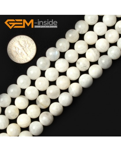 "G0658 8mm Natural Round Rainbow Moonstone Gemstone Loose Beads Strand 15"" Natural Stone Beads for Jewelry Making Wholesale"