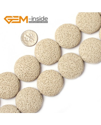 """G0745 Cream White (27mm) Coin Lava Rock Beads Jewelry Making  Loose Beads Strand 15"""" Free Shipping Natural Stone Beads for Jewelry Making Wholesale"""