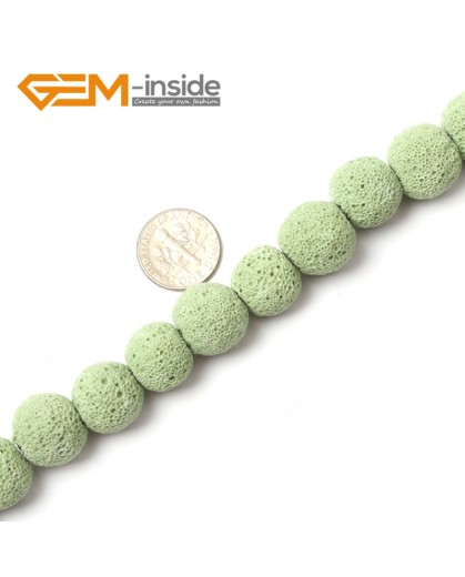 "G0755 Green (14mm) Round Gemstone Lava Rock Beads Strand 15"" Selectable Color Free Shipping Natural Stone Beads for Jewelry Making Wholesale"