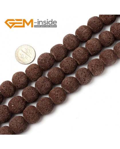 "G0760 Brown (14mm) Round Gemstone Lava Rock Beads Strand 15"" Selectable Color Free Shipping Natural Stone Beads for Jewelry Making Wholesale"