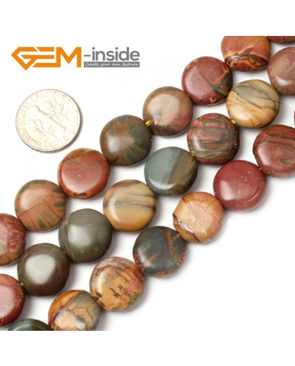 "G0811 14mm Coin Gemstone Picasso Jasper Loose Beads Strand 15"" Jewelry Making Free Shipping Natural Stone Beads for Jewelry Making Wholesale"