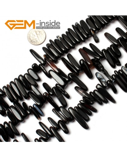 """G0911 18-20mm (Black Banded Agate) Freeform Stick Gemstone Jewelry Making Loose Beads 15"""" 39 Materials Natural Stone Beads for Jewelry Making Wholesale"""