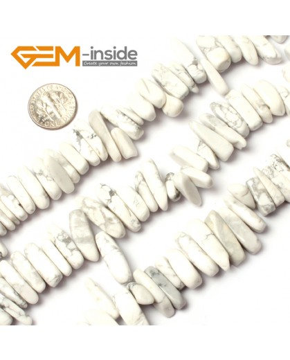 """G0912 18-20mm (White Howlite) Freeform Stick Gemstone Jewelry Making Loose Beads 15"""" 39 Materials Natural Stone Beads for Jewelry Making Wholesale"""
