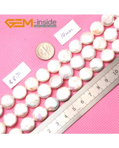 """G0970 14mm Coin White Gemstone Freshwater Pearl Gemstone Loose Beads Strand 15"""" Natural Stone Beads for Jewelry Making Wholesale DIY"""