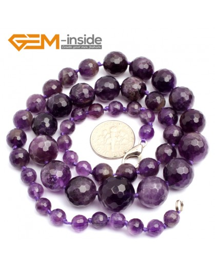 """G10273 Amethyst 21"""" 6-14mm Handmade Gemstone Finished Faceted Graduated Necklace Gbeads Gemstone Birthstone Necklaces Fashion Jewelry Jewellery"""