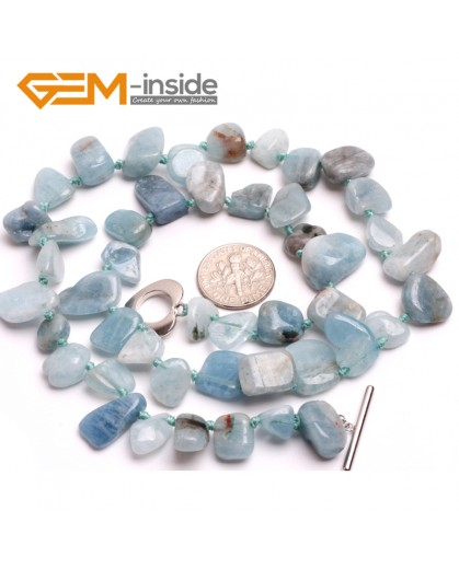 "G10353 10x14mm Natural Freeform Aquamarine Gemstone Beads Handmad Finished Jewelry Necklace 17"" Gemstone Birthstone Necklaces Fashion Jewelry Jewellery"
