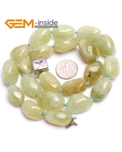 "G10354 10x20mm Natural Freeform Green Aquamarine Gemstone Beads Handmad Finished Jewelry Necklace 18"" Gemstone Birthstone Necklaces Fashion Jewelry Jewellery"