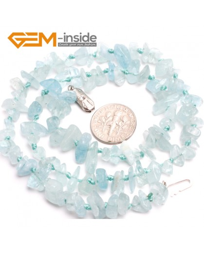 "G10356 6x9mm Natural Freeform Blue Aquamarine Gemstone Beads Handmad Finished Jewelry Necklace 18"" Gemstone Birthstone Necklaces Fashion Jewelry Jewellery"