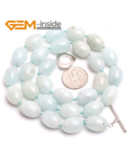 "G10357 10x14mm Natural Rice Olivary Blue Aquamarine Gemstone Beads Handmad Finished Jewelry Necklace 18"" Gemstone Birthstone Necklaces Fashion Jewelry Jewellery"