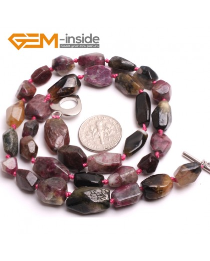 """G10361 10x12-10x15mm Freeform Multicolor Natural Tourmaline Gemstone Handmade Finished Jewelry Necklace 18"""" Gemstone Birthstone Necklaces Fashion Jewelry Jewellery for Women"""