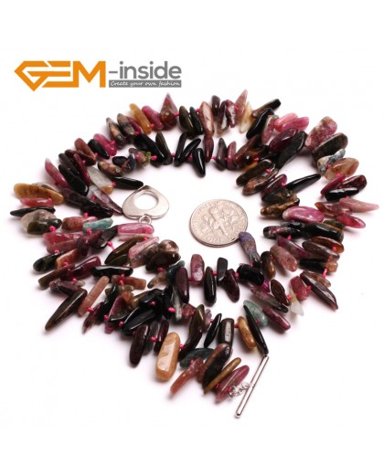 "G10362 10x15mm Freeform Multicolor Natural Tourmaline Gemstone Handmade Finished Jewelry Necklace 20"" Gemstone Birthstone Necklaces Fashion Jewelry Jewellery for Women"