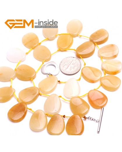 "G10373 13x18mm Drop Natural Yellow Jade Gemstone Beads Handmade Finished Jewelry Necklace 17"" Gemstone Birthstone Necklaces Fashion Jewelry Jewellery"