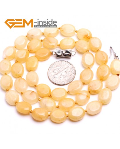 "G10374 8x10mm Oval Natural Yellow Jade Gemstone Beads Handmade Finished Jewelry Necklace 17"" Gemstone Birthstone Necklaces Fashion Jewelry Jewellery"