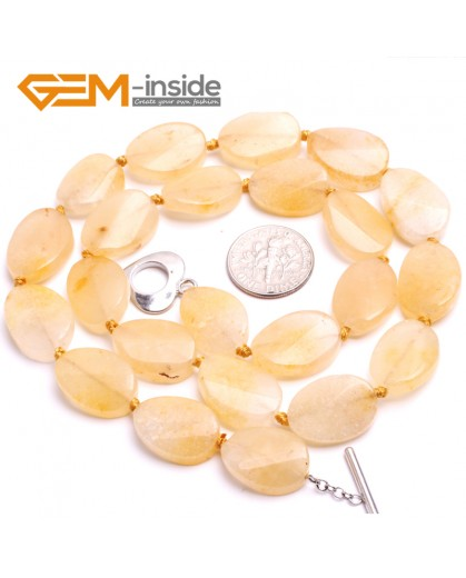"G10375 13x18mm Oval Twist Natural Yellow Jade Gemstone Beads Handmade Finished Jewelry Necklace 17"" Gemstone Birthstone Necklaces Fashion Jewelry Jewellery"