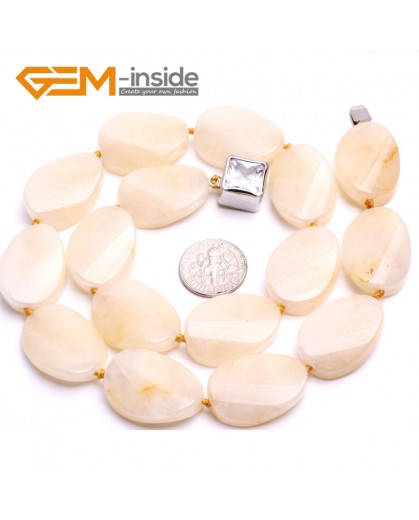 "G10376 18x25mm/Oval Twist/17"" Natural Yellow Jade Gemstone Beads Handmade Finished Jewelry Necklace 17-18 Inch Gemstone Birthstone Necklaces Fashion Jewelry Jewellery"