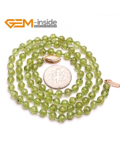 "G10378 4mm Round Natural Green Peridot Beads Gemstone Princess Necklace 20"" Gold Filled Fish Clasp Gemstone Birthstone Necklaces Fashion Jewelry Jewellery"