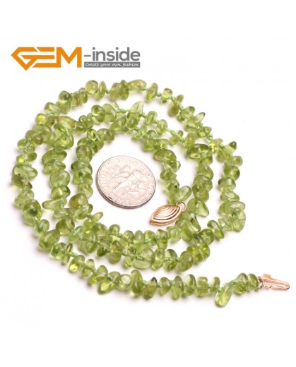 "G10380 6x8mm Freefrom chips Natural Green Peridot Beads Necklace Princess 20"" Fish Gold Filled Clasp Gemstone Birthstone Necklaces Fashion Jewelry Jewellery"