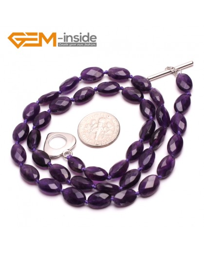 G10388 Oval 6x10mm Faceted Natural Gemstone Amethyst Quartz Beads Handmade Pricess Necklace 18 Inches | Gemstone Birthstone Necklaces Fashion Jewelry Jewellery