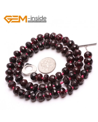 "G10394 Rondelle Faceted 5x8mm Natural Garnet Beads Handmade Gemstone Necklace 17"" Birthstone Necklaces Fashion Jewelry Jewellery"