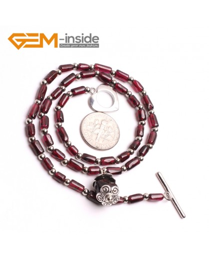 "G10397 Column 4x6mm Natural Gemstone Red Garnet Necklace 17"" Gemstone Birthstone Necklaces Fashion Jewelry Jewellery"