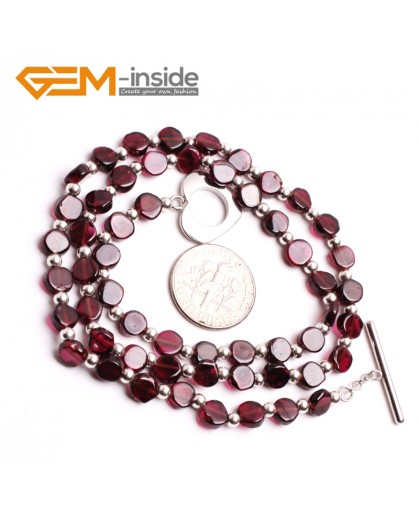 "G10398 Flat Round 5mm Natural Gemstone Red Garnet Necklace 17"" Gemstone Birthstone Necklaces Fashion Jewelry Jewellery"