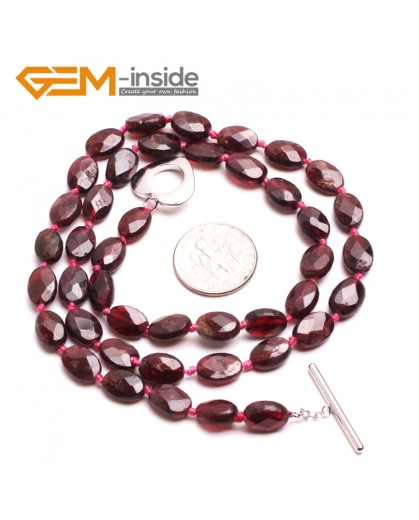 "G10401 Oval Faceted 6x8mm Natural Red Garnet Gemstone Beads Handmade Necklace 17"" Gemstone Birthstone Necklaces Fashion Jewelry Jewellery"