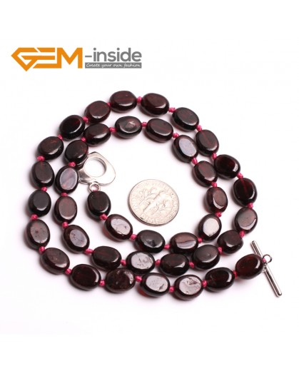 "G10403 Oval 8x10mm Natural Red Garnet Gemstone Beads Handmade Princess Necklace 18"" Gemstone Birthstone Necklaces Fashion Jewelry Jewellery"