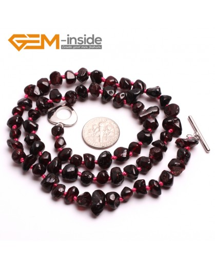 G10405 Freeform 6x10mm-6x12mm Natural Red Garnet Gemstone Beads Handmade Princess Necklace 18"