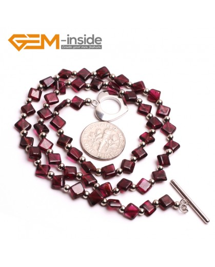 "G10407 Square 6mm Natural Red Garnet Gemstone Beads choker Necklace 16"" Gemstone Birthstone Necklaces Fashion Jewelry Jewellery"