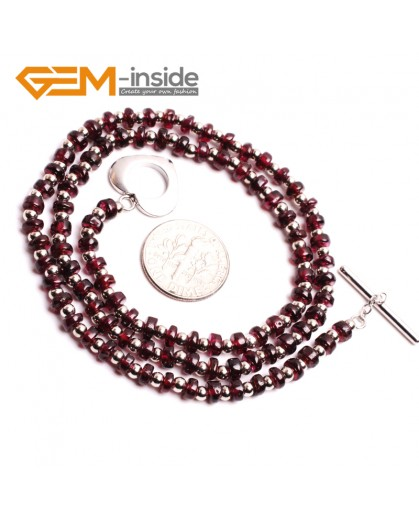 "G10408 Rondelle 2x4mm Natural Red Garnet Gemstone Beads Handmade choker Necklace 16"" Gemstone Birthstone Necklaces Fashion Jewelry Jewellery"
