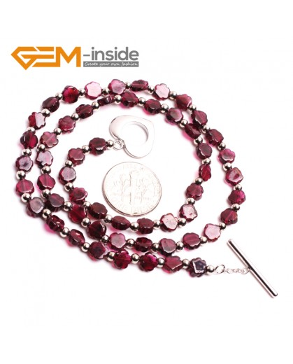 "G10409 Quincunx flower 5mm Natural Red Garnet Gemstone Beads Handmade Necklace 17"" Gemstone Birthstone Necklaces Fashion Jewelry Jewellery"