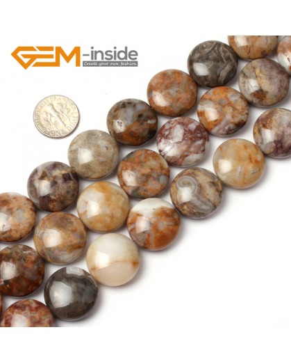 "G1276 Natural Multi color Crazy Lace Agate 20mm Coin Stone Loose Beads Strand 15"" Free Shipping Natural Stone Beads for Jewelry Making Wholesale"